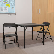 Kids Black 3 Piece Folding Table and Chair Set