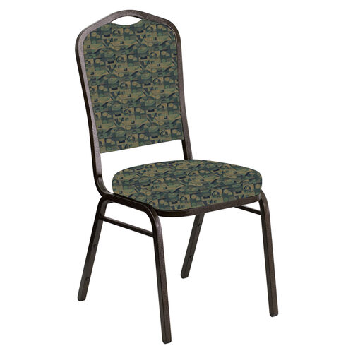 Our Embroidered Crown Back Banquet Chair in Perplex Clover Fabric - Gold Vein Frame is on sale now.