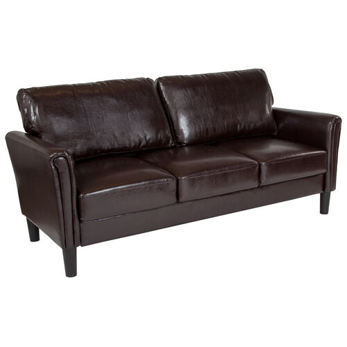 Our Bari Upholstered Sofa in Brown LeatherSoft is on sale now.