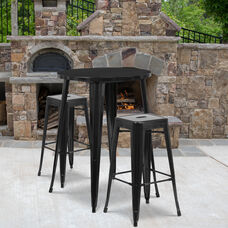 """Commercial Grade 30"""" Round Black Metal Indoor-Outdoor Bar Table Set with 2 Square Seat Backless Stools"""