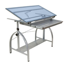 Avanta Blue Tempered Glass and Steel Height Adjustable Drafting Table with Adjustable Angle Top - Silver