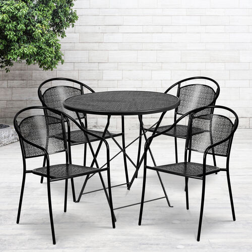 "Commercial Grade 30"" Round Indoor-Outdoor Steel Folding Patio Table Set with 4 Round Back Chairs"