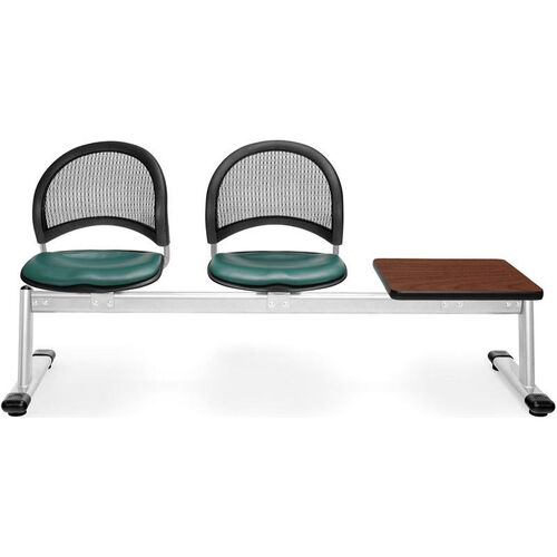 Our Moon 3-Beam Seating with 2 Teal Vinyl Seats and 1 Table - Cherry Finish is on sale now.