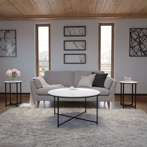 Hampstead Collection 3 Piece White Marble Finished Coffee and End Table Set with Matte Black Frame