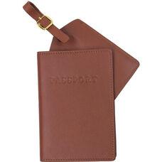 Leather Luxury Travel Gift Set: RFID Blocking Passport Jacket with Matching Luggage Tag - Tan
