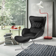 Black LeatherSoft Swivel Wing Chair and Ottoman Set
