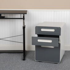 Ergonomic 3-Drawer Mobile Locking Filing Cabinet with Anti-Tilt Mechanism and Hanging Drawer for Legal & Letter Files, White with Charcoal Faceplate