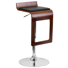 Walnut Bentwood Adjustable Height Barstool with Drop Frame and Black Vinyl Seat