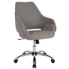 Madrid Home and Office Upholstered Mid-Back Chair in Light Gray Fabric