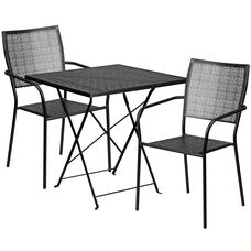 "Commercial Grade 28"" Square Black Indoor-Outdoor Steel Folding Patio Table Set with 2 Square Back Chairs"