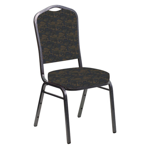Our Crown Back Banquet Chair in Perplex Cobalt Fabric - Silver Vein Frame is on sale now.