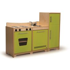Kids Contemporary Play Kitchen Combo in Vibrant Green Birch Plywood