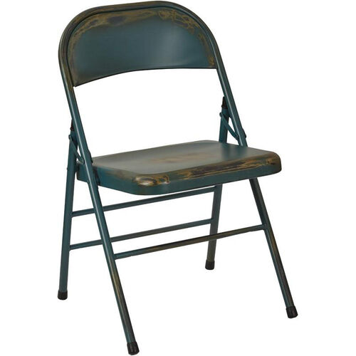 Our OSP Designs Bristow Distressed Steel Folding Chair - Set of 2 - Antique Turquoise is on sale now.