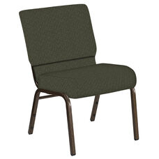 Embroidered 21''W Church Chair in Mirage Fern Fabric - Gold Vein Frame