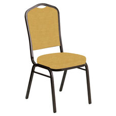 Embroidered Crown Back Banquet Chair in Phoenix Sand Fabric - Gold Vein Frame