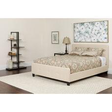 Tribeca King Size Tufted Upholstered Platform Bed in Beige Fabric with Pocket Spring Mattress