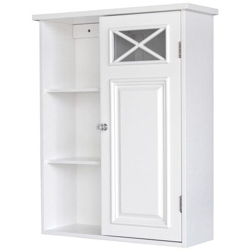 Dawson Wall Cabinet with One Door and Shelves - White