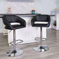 Contemporary Black Vinyl Adjustable Height Barstool with Rounded Mid-Back and Chrome Base