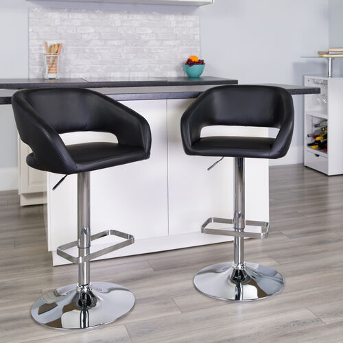 Our Contemporary Black Vinyl Adjustable Height Barstool with Rounded Mid-Back and Chrome Base is on sale now.