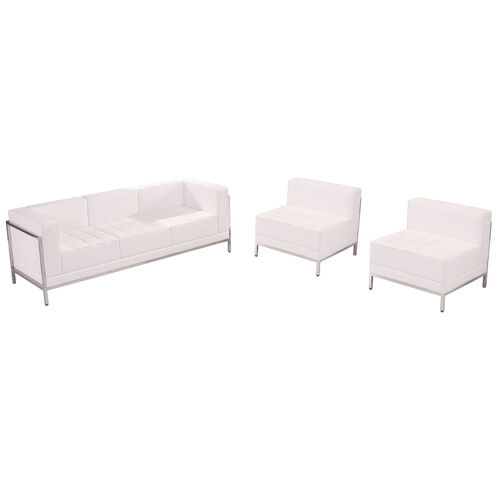 HERCULES Imagination Series Melrose White LeatherSoft Sofa & Chair Set