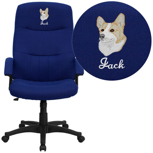 Our Embroidered High Back Navy Blue Fabric Executive Swivel Office Chair with Two Line Horizontal Stitch Back & Arms is on sale now.