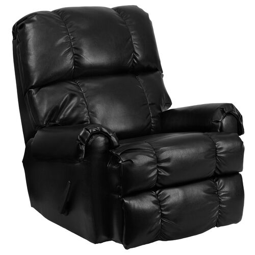 Our Contemporary Ty Black LeatherSoft Rocker Recliner is on sale now.