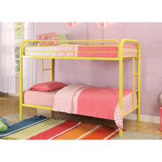 Thomas Twin Over Twin Metal Bunk Bed - with Built In Side Ladder - Yellow