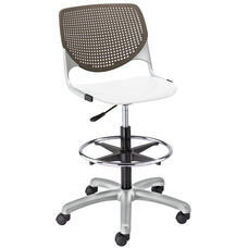 DS2300 KOOL Series Poly Armless Task Stool with Brownstone Perforated Back and White Seat