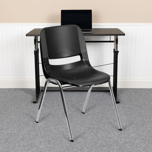 Our HERCULES Series 880 lb. Capacity Ergonomic Shell Stack Chair with Chrome Frame and 18