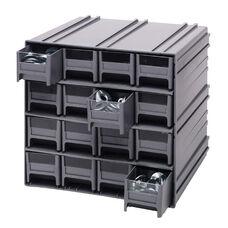 Interlocking Storage Cabinet with 16 Drawers - Gray