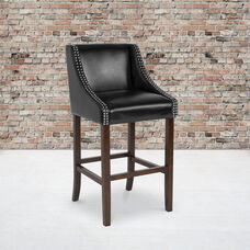 """Carmel Series 30"""" High Transitional Walnut Barstool with Accent Nail Trim in Black LeatherSoft"""