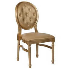 HERCULES Series 900 lb. Capacity King Louis Chair with Tufted Back, Gold Vinyl Seat and Gold Frame