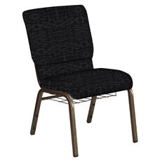Embroidered 18.5''W Church Chair in Amaze Ebony Fabric with Book Rack - Gold Vein Frame