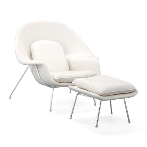 Nursery Occasional Chair & Ottoman in White