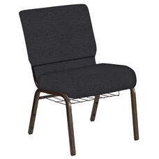Embroidered 21''W Church Chair in Ravine Ebony Fabric with Book Rack - Gold Vein Frame