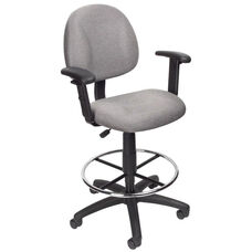 Contoured Back Drafting Stool with Foot Ring and Adjustable Arms - Grey Tweed