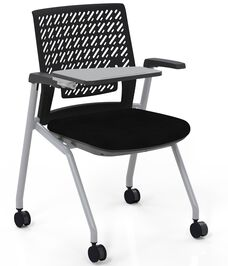 Thesis™ Flex Back Arm Chair with Fabric Seat and Tablet Arm - Set of 2 - Black