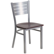 Silver Slat Back Metal Restaurant Chair with Mahogany Wood Seat