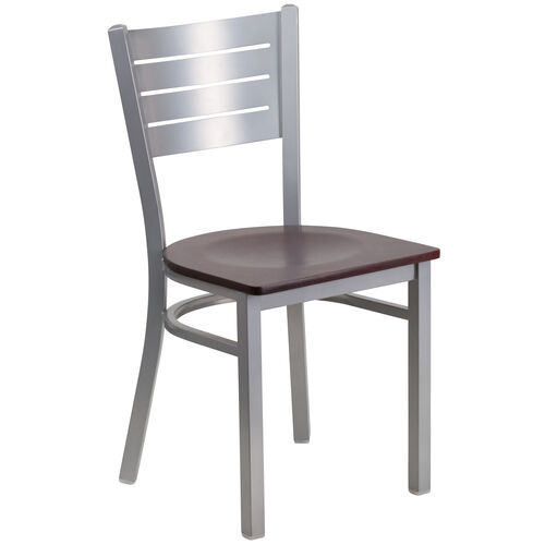 Our Silver Slat Back Metal Restaurant Chair with Mahogany Wood Seat is on sale now.