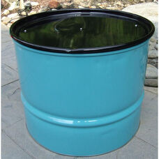 Turquoise Steel Drum Table with Black Top