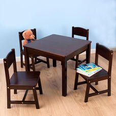 Farmhouse Five Piece Kids Solid Birch Wood Square Table and Four Matching Chairs - Espresso