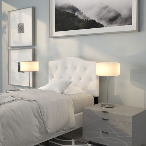 Cambridge Tufted Upholstered Twin Size Headboard in White Fabric