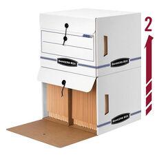 Bankers Box® Side-Tab File Storage Box - Letter - 15-1/4 x 13-1/2 x 10-3/4 - White/Blue - 12/CT