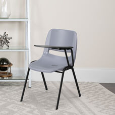 Gray Ergonomic Shell Chair with Left Handed Flip-Up Tablet Arm
