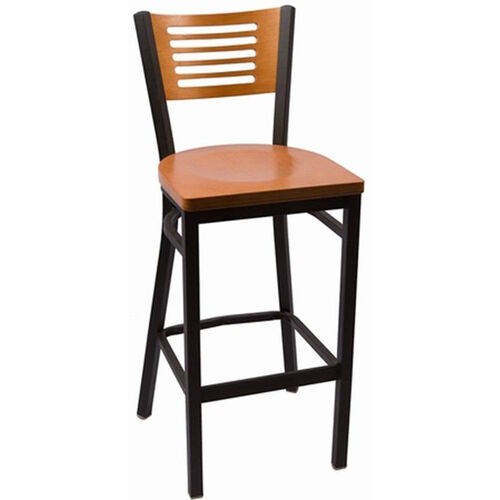 Our Jones River Series Wood Back Armless Barstool with Steel Frame and Wood Seat - Cherry is on sale now.