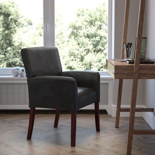 LeatherSoft Executive Side Reception Chair with Mahogany Legs