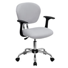 Mid-Back White Mesh Padded Swivel Task Office Chair with Chrome Base and Arms