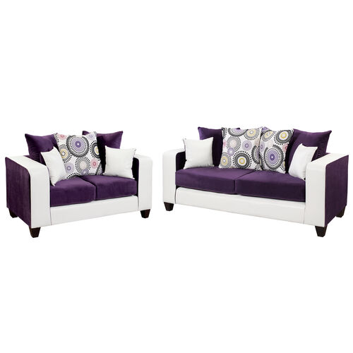 Our Riverstone Implosion Purple Velvet Living Room Set is on sale now.