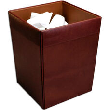 Classic Leather Square Waste Basket - Mocha