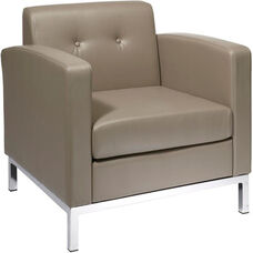 Ave Six Wall Street Faux Leather Arm Chair with Chrome Base and Legs - Smoke